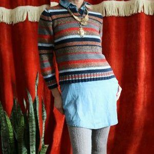 Handknit Boho Scandanavian Style Striped Sweater